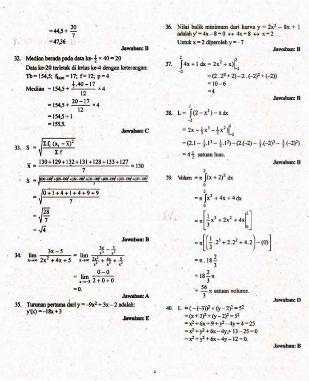 Kunci Jawaban Soal Prediksi Un Matematika Smk 2014
