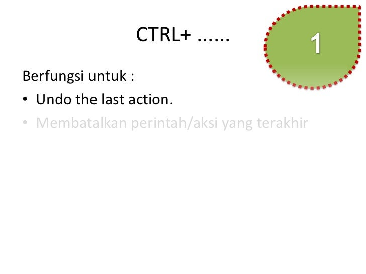 CTRL+ ......Berfungsi untuk :• Undo the last action.• Membatalkan perintah/aksi yang terakhir