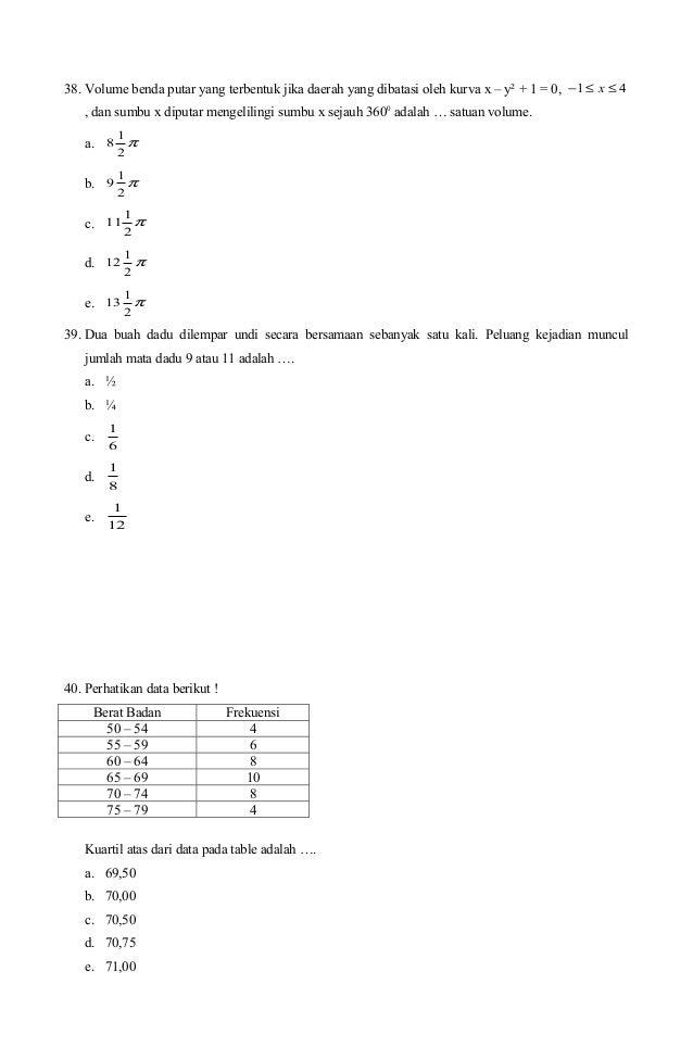 Soal Un Matematika Sma Ipa 2008