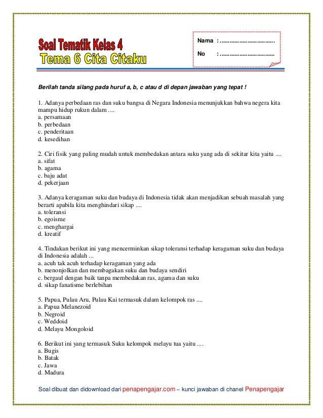 Soal Tema 6 Kelas 4 Subtema 1