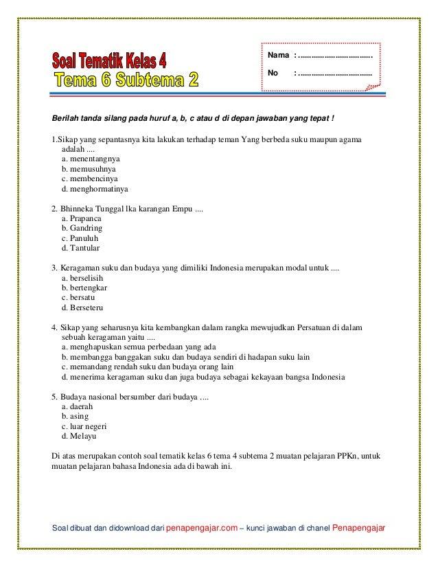 Soal Tema 6 Kelas 4 Subtema 2
