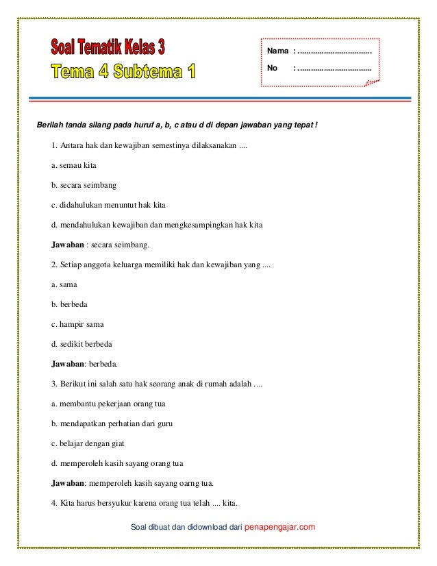 Soal Tematik Kelas 3 Tema 4 Subtema 1 Dan Kunci Jawaban