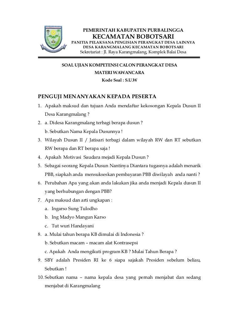 Soal Tertulis Ujian Perangkat Desa