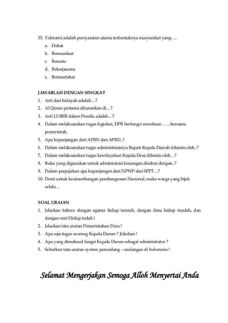 Soal Tes Perangkat Desa Kumpulan Contoh Download Lengkap