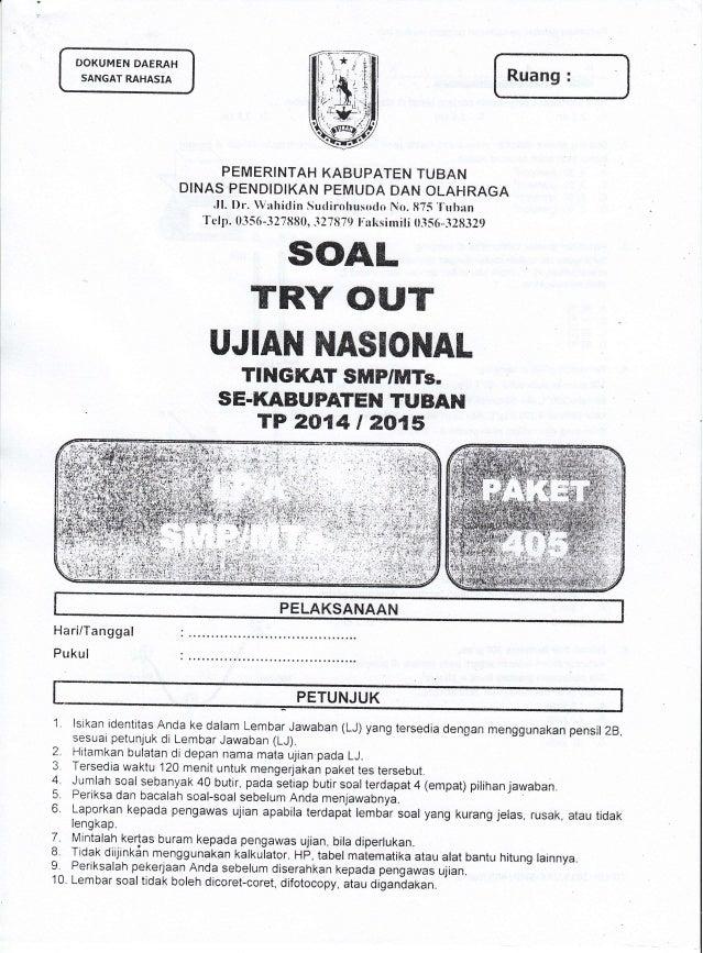 Soal Tryout Kab Ujian Nasional Un Ipa Smp Tahun 2015 Se Kabupaten
