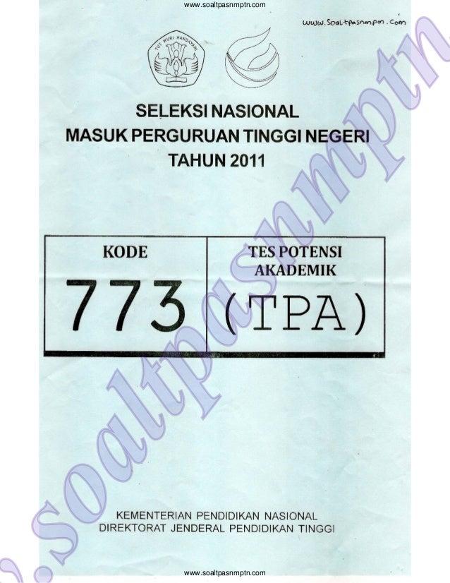 Soal Tpa Snmptn 2011