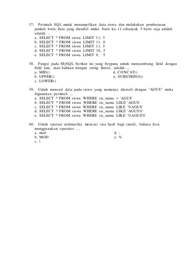 Soal Try Out Rpl 2014