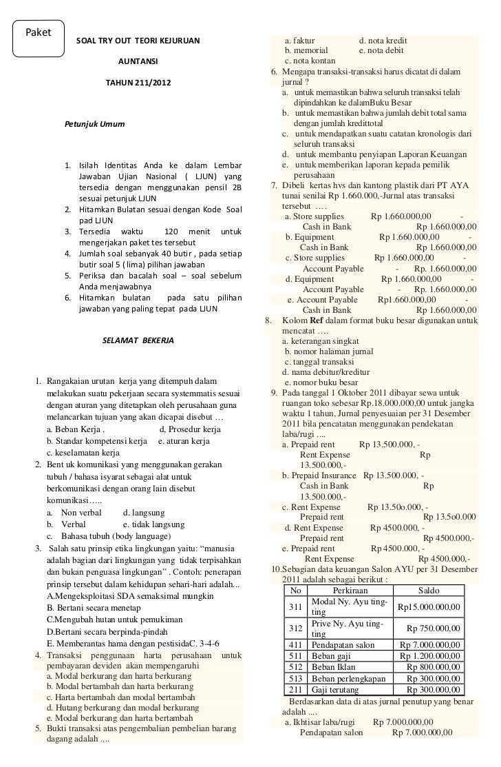 Soal Try Out Teori Kejuruan Akuntansi 2012