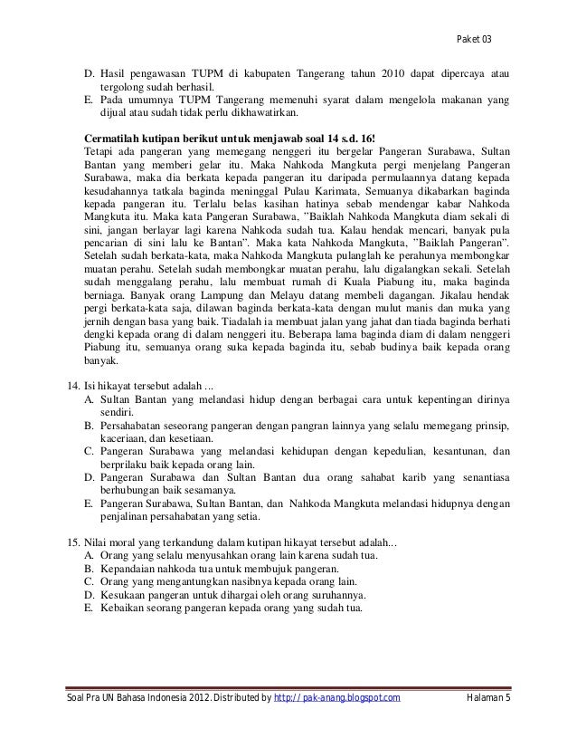 Soal Try Out Un 2012 Sma Bahasa Indonesia Ipa Ips Paket 03