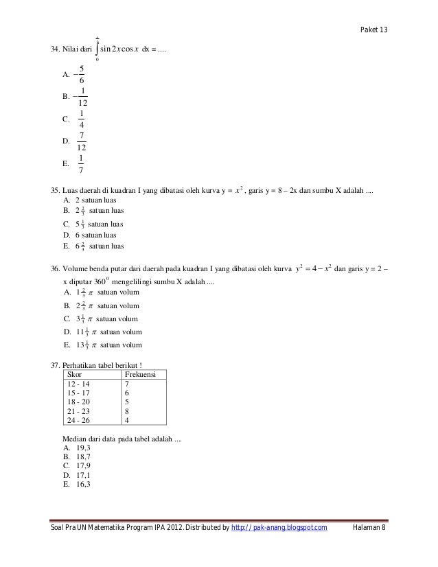 Soal Try Out Un 2012 Sma Matematika Ipa Paket 13