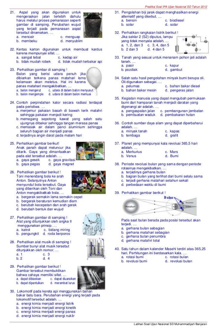 Soal Try Out Un Ipa Sd Muhammadiyah Banjaran Tahun 2012 Paket
