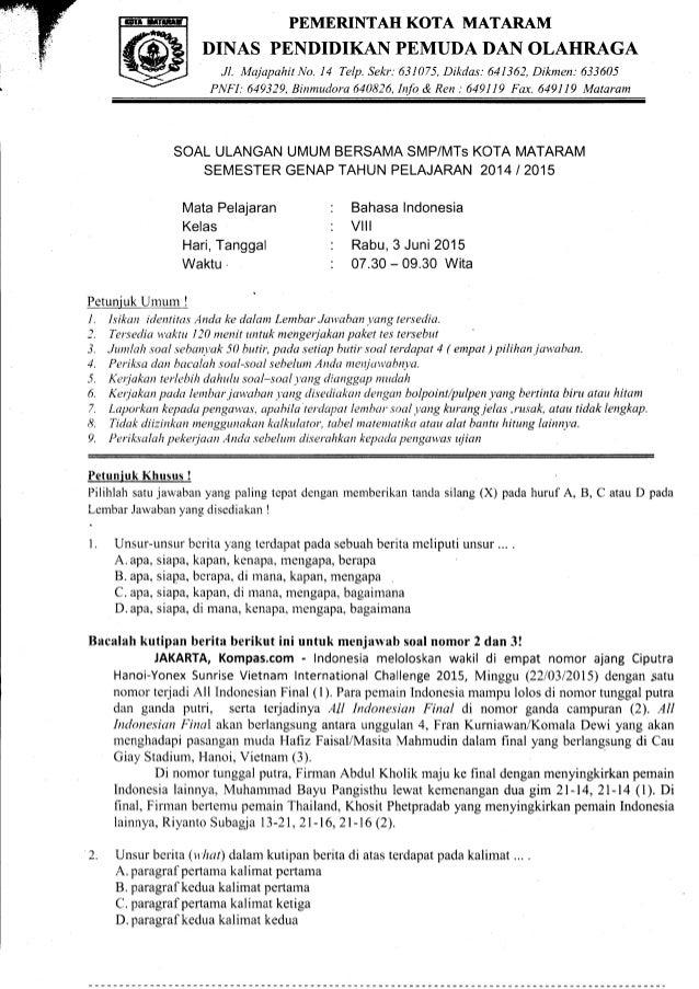 Soal Uas Genap Bahasa Indonesia 2014 2015 Smp Kelas 8 Kota Mataram