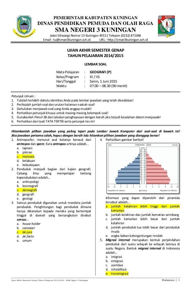Soal Uas Geografi Kelas Xi Iis Genap 2014 2015 Kunci