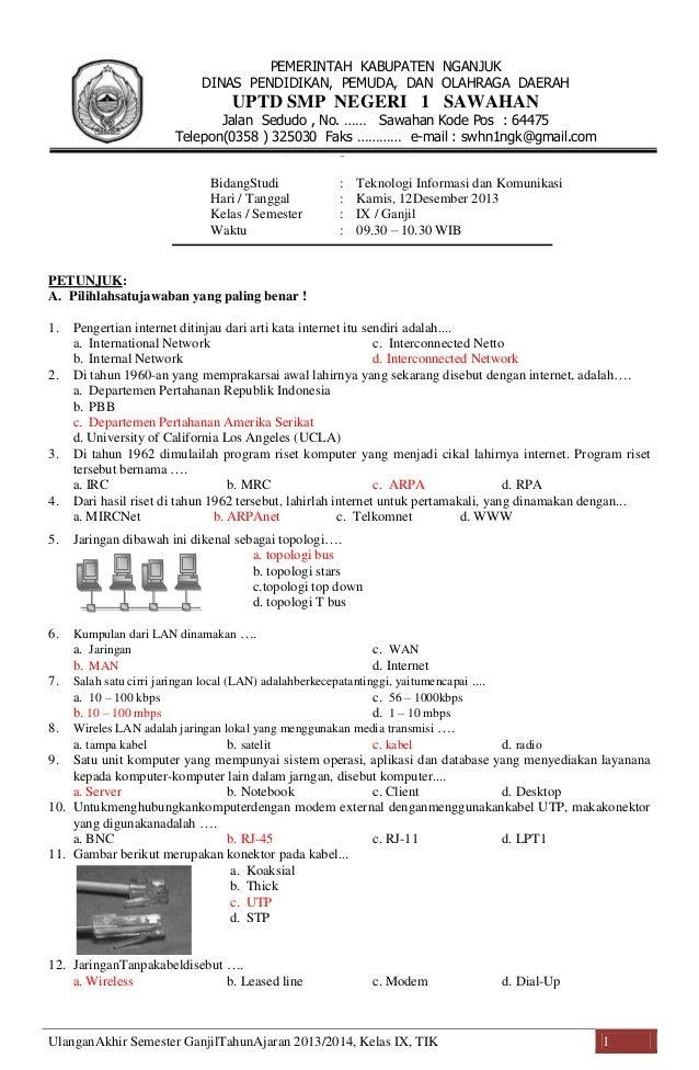 Soal Soal Latihan Tik Kelas 9 Soal Uas Tik Kelas 9