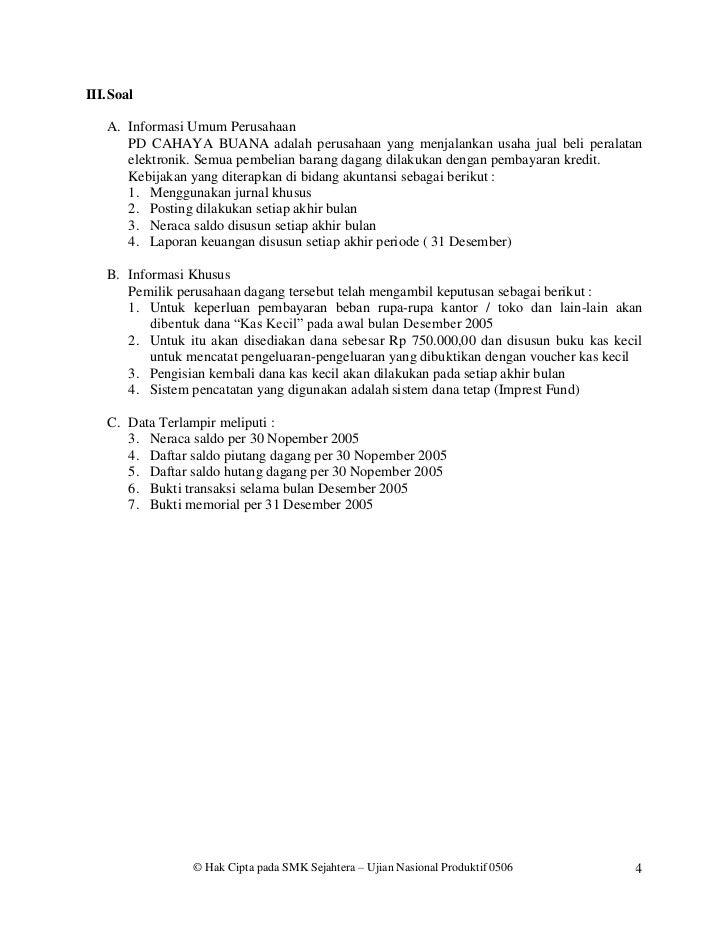 Soal Ujian Nasional Produktif Akuntansi