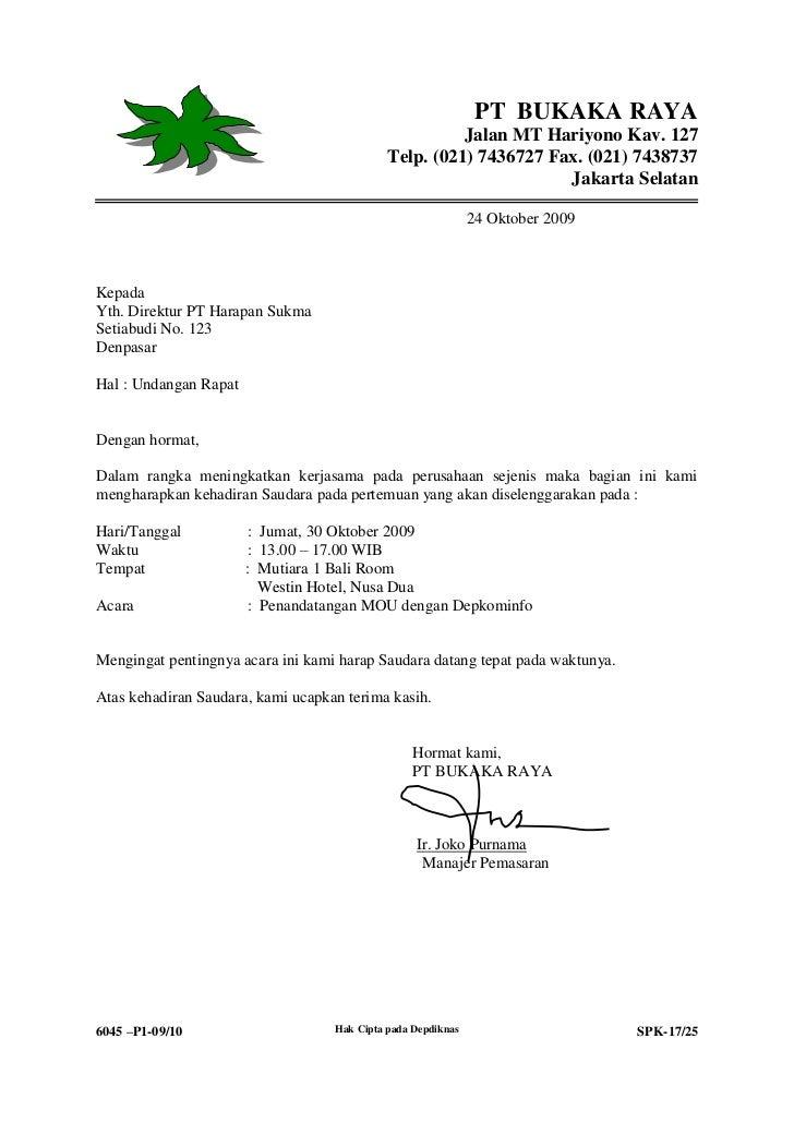 Contoh Surat Undangan Rapat Perusahaan Dalam Bahasa Inggris