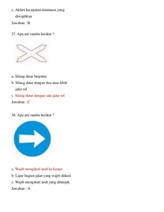 Soal Ujian Teori Sim C