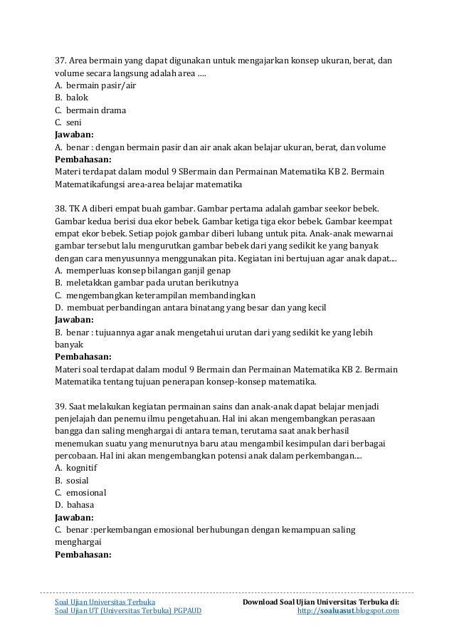 Soal Ujian Ut Pengembangan Kurikulum Dan Pembelajaran Di Sd Cara Mengajarku