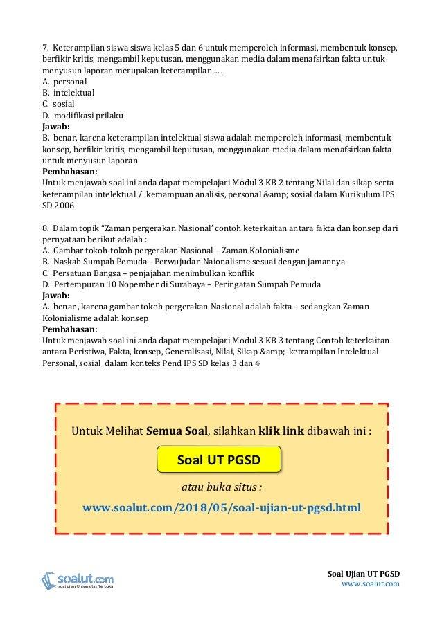 Kunci Jawaban Soal Ujian Pendidikan Ips Di Sd Pdgk 4106 Guru Galeri