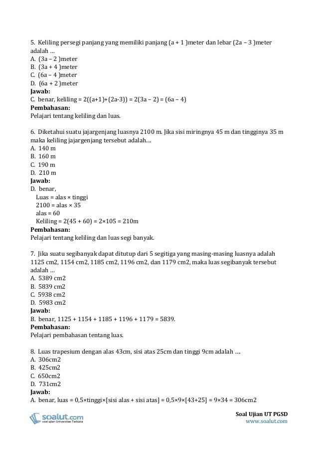 Soal Ujian Ut Pendidikan Matematika 1 Terkait Pendidikan