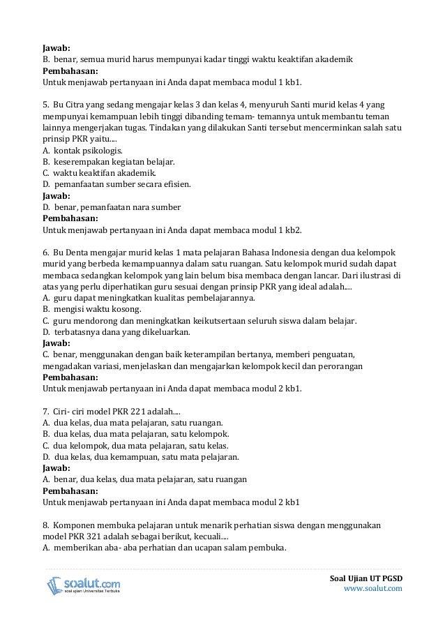 Soal Ujian Ut Pgsd Pdgk4302 Pembelajaran Kelas Rangkap