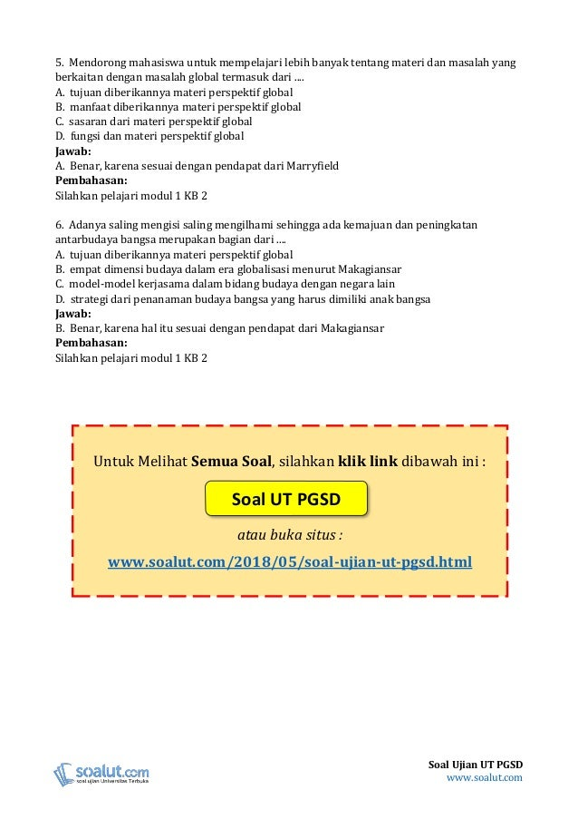 Soal Ujian Ut Pgsd Pdgk4303 Perspektif Global Beserta Kunci Jawaban
