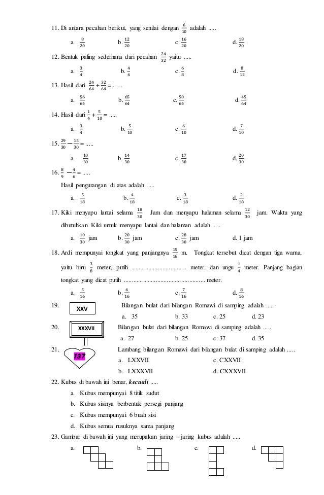 Soal Ukk Matematika Kelas 4