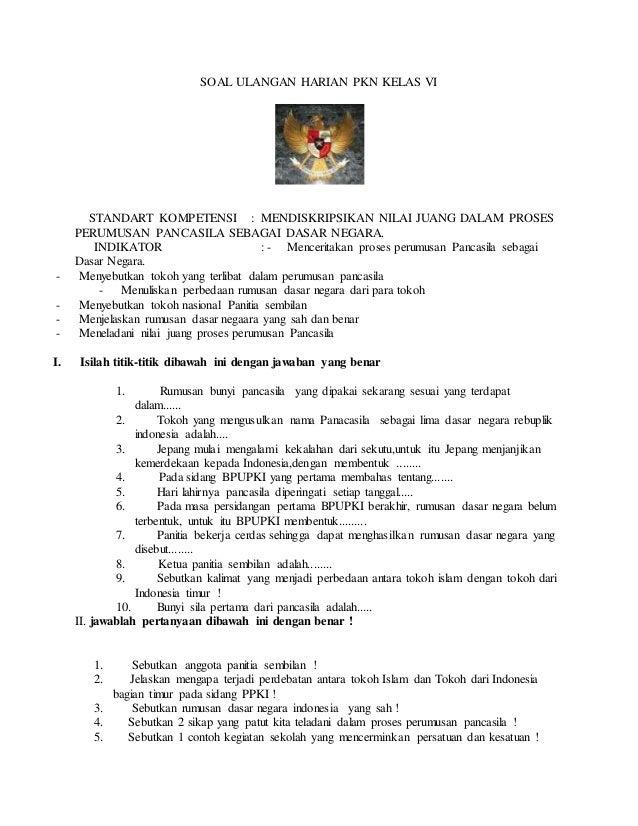 Soal Ulangan Harian Pkn Kelas Vi