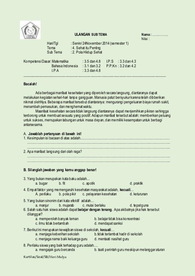 Image Result For Soal Soal Ulangan Sd