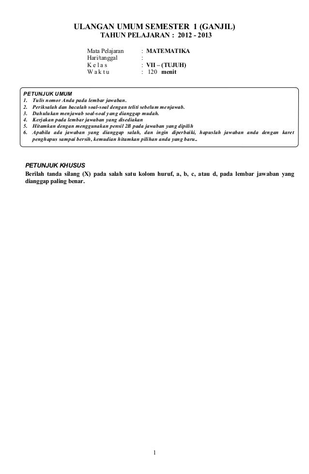 Soal ulangan umum semester i smp kelas vii matematika arini