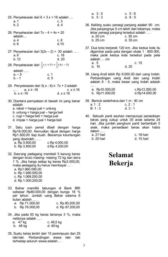 Contoh Latihan Soal Soal Matematika Kelas 5 Semester 1 Skala