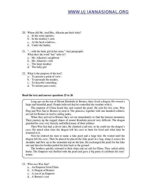 Soal Un Bahasa Inggris 2012