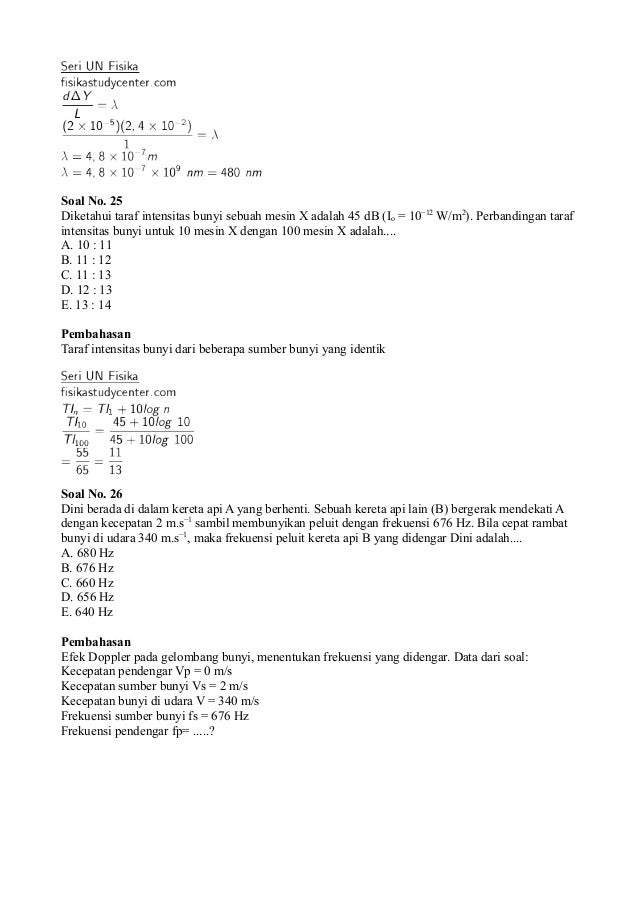 Soal Un Fisika Sma 2011 Dan Pembahasannya