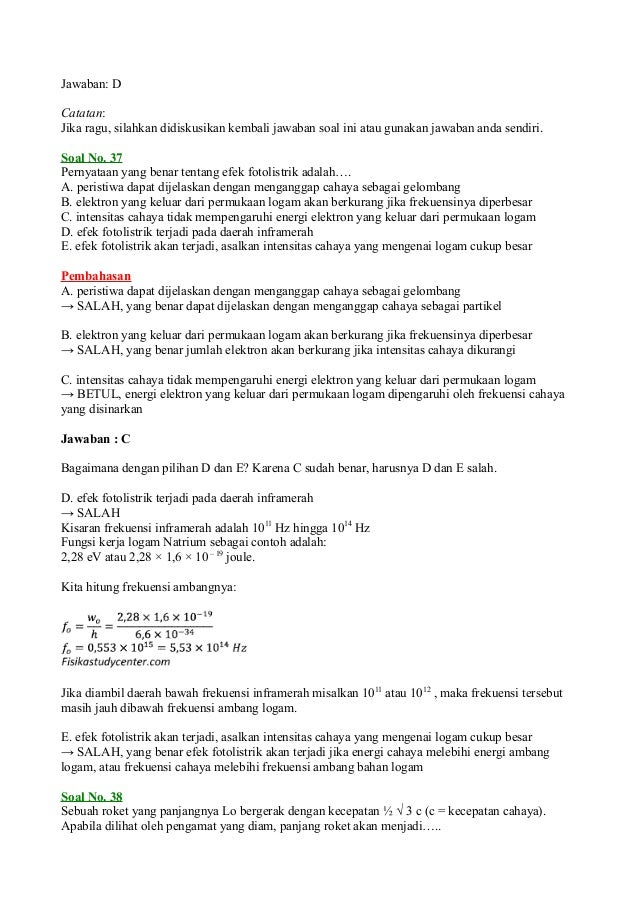 Soal un fisika 2012 dan pembahasannya