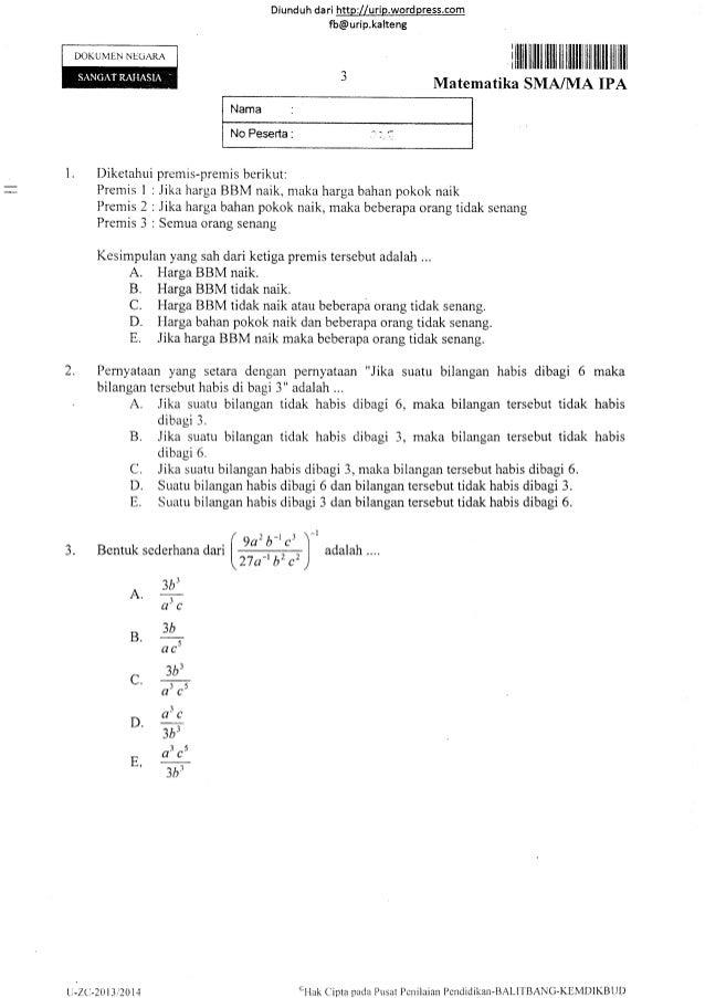 Soal Un Matematika Ipa Sma Tahun 2014 14