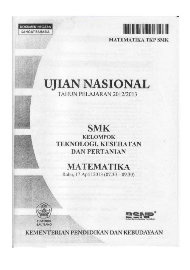 Soal Un Matematika Smk 2013 Tkp Paket 1