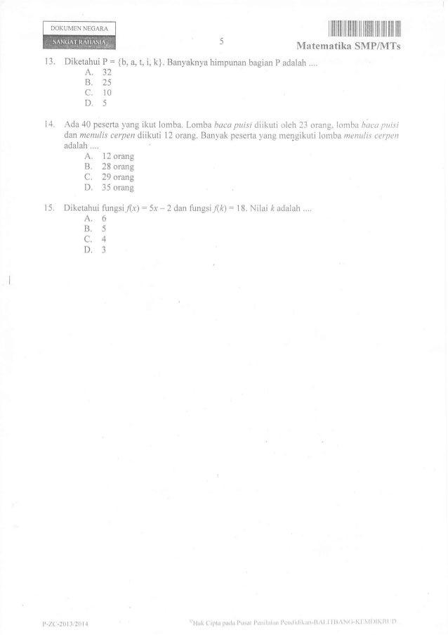 Soal Un Matematika Smp 2014 Paket 16