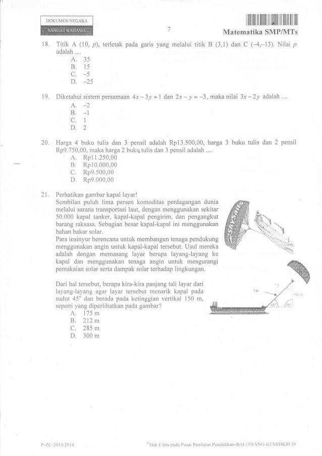 Soal Un Matematika Smp 2014 Paket 8