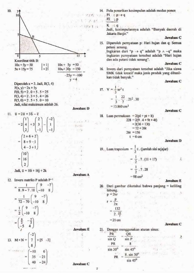 Kunci Jawabansoal Un Smk 2012 Matematika Tkp
