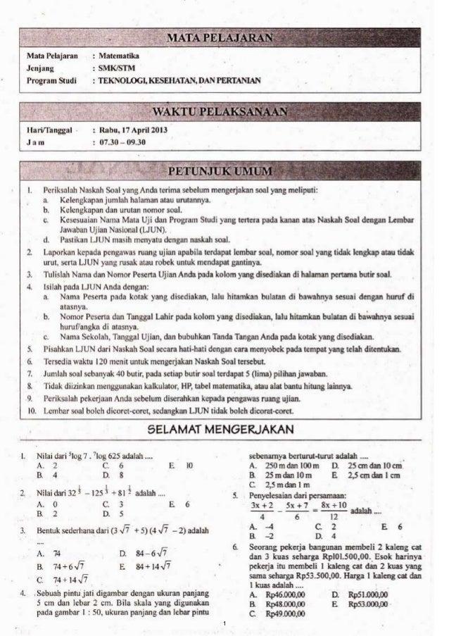 Soal Un Smk 2013 Matematika Tkp