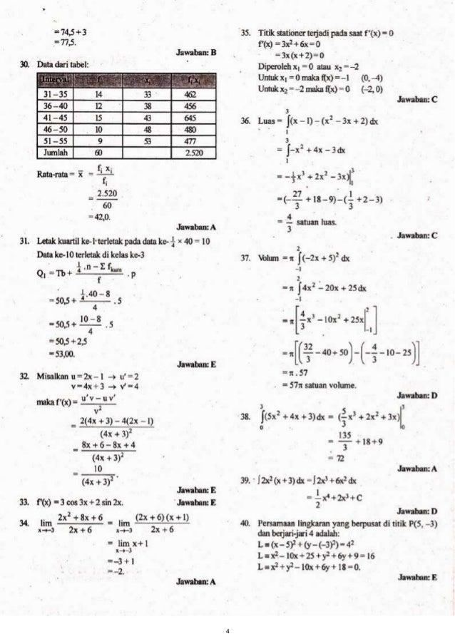 Kunci Jawaban Soal Un Smk 2013 Matematika Tkp