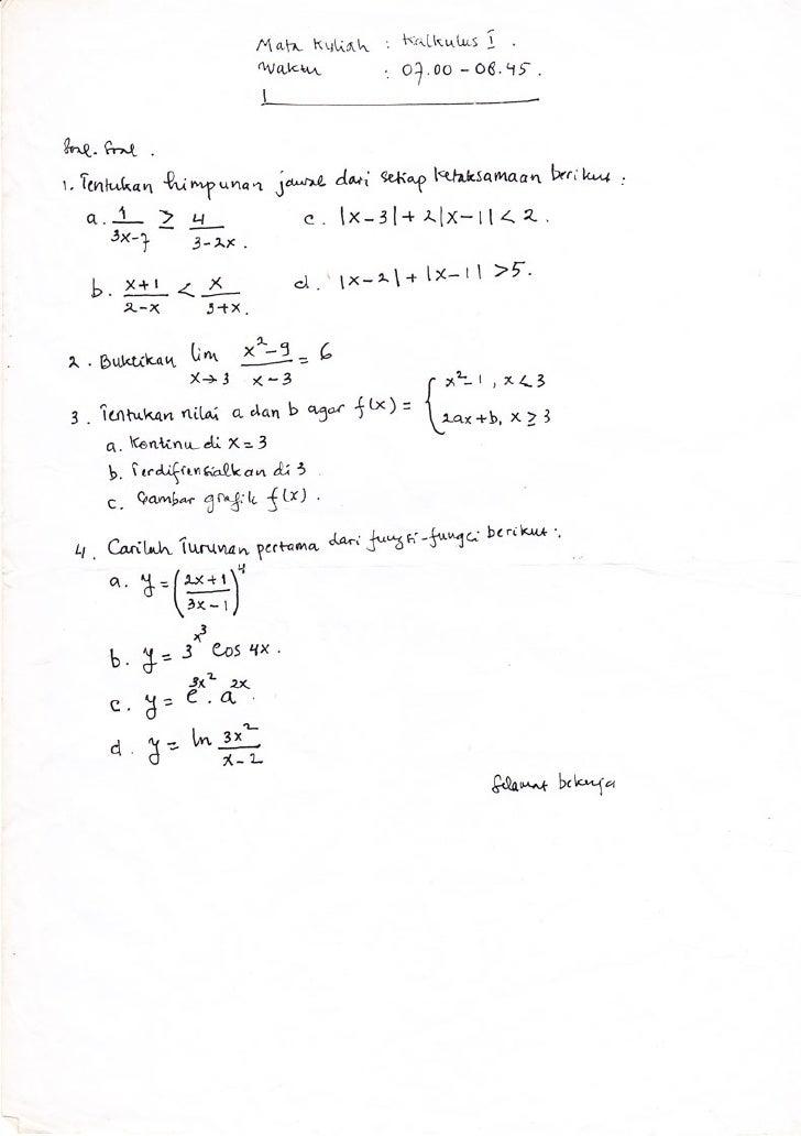 Soal Uts Kalkulus I