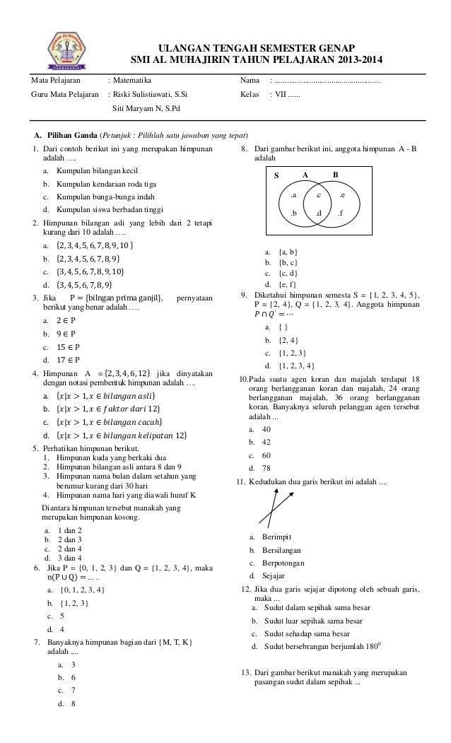 Soal Soal Matematika Kelas 7 Semester 2 Kurikulum 2013 Fasrcircle