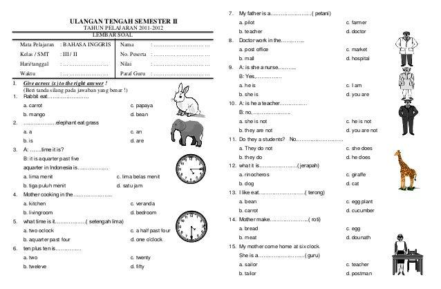Soal Uts Semester Ii Kelas 3 Bahasa Inggris