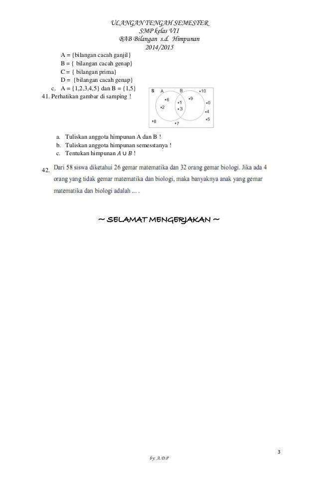 Soal Matematika Uts Smp Kelas Vii