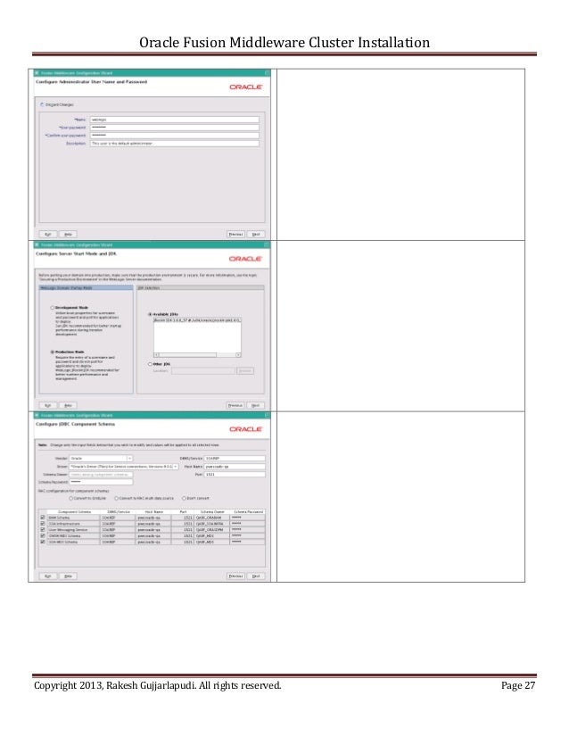 Oracle Fusion Middleware Cluster InstallationCopyright 2013, Rakesh Gujjarlapudi. All rights reserved.               Page 27