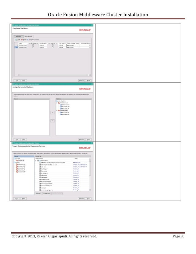 Oracle Fusion Middleware Cluster InstallationCopyright 2013, Rakesh Gujjarlapudi. All rights reserved.               Page 30