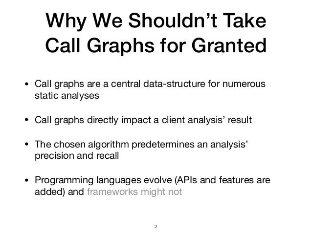 Why We Shouldn't Take  Call Graphs for Granted • Call graphs are a central data-structure for numerous static analyses  •...