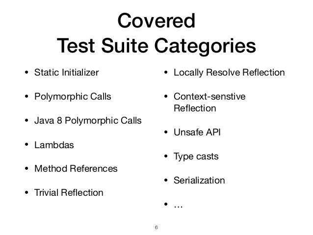 Covered  Test Suite Categories • Static Initializer  • Polymorphic Calls  • Java 8 Polymorphic Calls  • Lambdas  • Method...