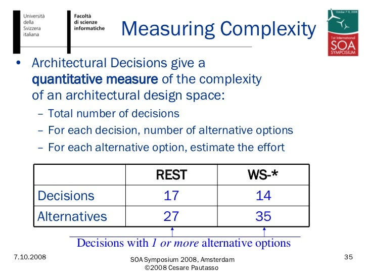 Measuring Complexity <ul><li>Architectural Decisions give a  quantitative measure  of the complexity  of an architectural ...